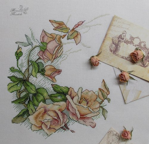 """Авторская схема для вышивки крестом """"Винтажные розы"""" (фото, вид 1)"""