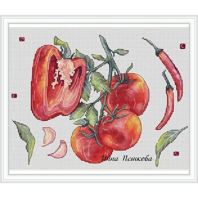 """Авторская схема для вышивки крестом """"Перец и томат"""""""