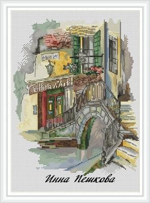 """Авторская схема для вышивки крестом """"Мосты Венеции"""" (фото)"""