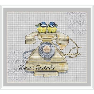 """Авторская схема для вышивки крестом """"Синицы на телефоне"""""""