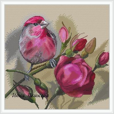 Схема вышивки крестом птицы и цветы
