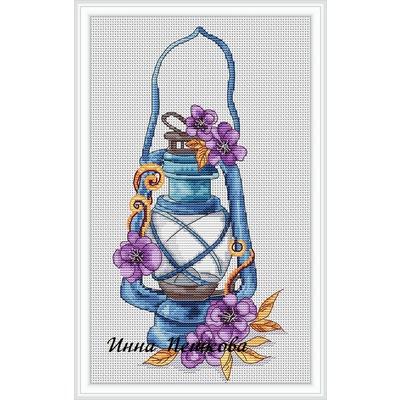 """Авторская схема для вышивки крестом """"Синяя лампа"""""""