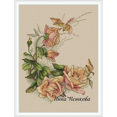 """Авторская схема для вышивки крестом """"Винтажные розы"""" (фото)"""
