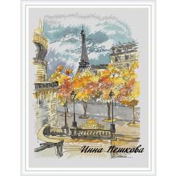 """Авторская схема для вышивки крестом """"Париж, Париж!"""""""