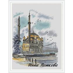"""Схема для вышивки крестом """"Мечеть Ортакёй"""""""