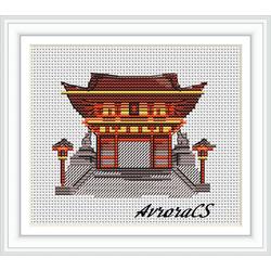 """Авторская схема для вышивки крестом """"Япония.Фусими"""""""