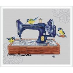 """Авторская схема для вышивки крестом """"Синица на швейной машинке"""""""
