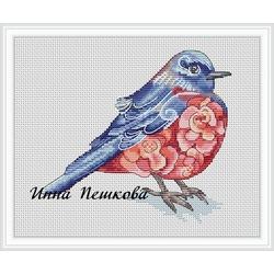 """Авторская схема для вышивки крестом """"Фиолетовая птица"""""""