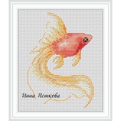 """Авторская схема для вышивки крестом """"Золотая рыбка"""""""