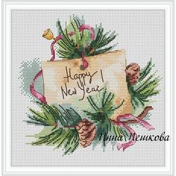 """Авторская схема для вышивки крестом """"Счастливого Нового года!"""""""